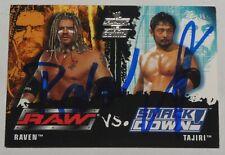 Raven & Yoshihiro Tajiri Signed 2002 Fleer Card #85 WWE Raw vs SmackDown ECW WCW