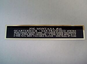 Joe Montana 49ers Autograph Nameplate For A Football Helmet Case 1.25 X 6