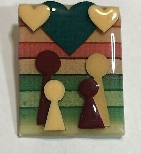 """Vintage People Family Pin Brooch By Lucinda Multi Colored Handmade 2"""""""