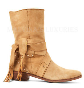 SEE BY CHLOE ANKLE BOOTS FRINGE TIE WRAP STUDDED SUEDE LEATHER $425 sz 36 6