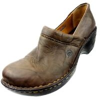 Born Womens Size 7.5 M Clogs Marble Brown Leather Casual Shoes