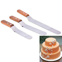 Wooden Home Cake Icing Spatula Angled Blade Spreader Fondant  Gadgets