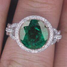 585er Weiß gold 1,50KT Natürlich Grün Smaragd EGL Zertifiziert Diamant Ring