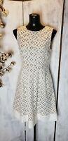 ELIZA J Ivory lace Nude Pleated Sleeveless Sheath Dress Size 4