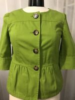 Ann Taylor Women's Blazer Green 3/4 Sleeve Fully Lined 4 Button Size Small