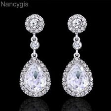 Silver Plated Crystal Classic Teardrop Gift Party Bridal Wedding Drop Earrings