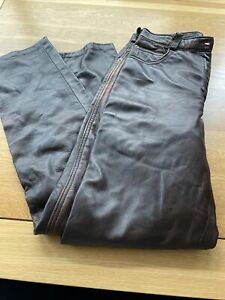 Vintage Ladies Leather Trousers Brown Size 14