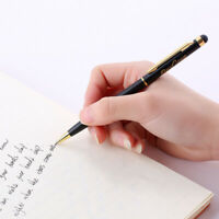 Writing Metal Ballpoint Office 1mm Luxury Pen Full Ink Black Stationery Gel