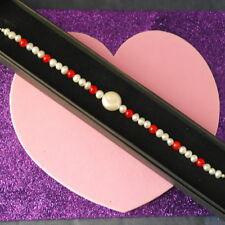 Beautiful Bracelet With Pearl And Red Agate 7.5 In Long 925 Silver Clasps In Box