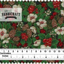 Christmas Fabric Xmas Rose Green 100% cotton 1 metre