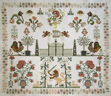 WOW! DUTCH COMPLETED CROSS STITCH REPRODUCTION SAMPLER FLOWERS LION ANGELS