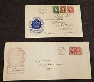 Selection of old Canada covers and FDC. QV, KGVI, early QE2