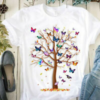Women Casual Blouse Round Neck Short Sleeve Butterfly Tree Print Tops T Shirt UK