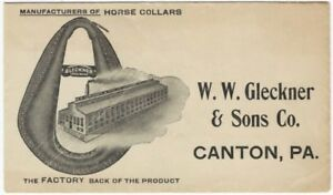 1920s Canton Pennsylvania Horse Collar Factory Advertising Picture Envelope