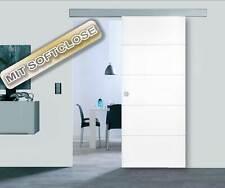 Holzschiebetür Set PRAG RAL9010 Innentür Weiß Schiebetür Zimmertür 1060 x 2090