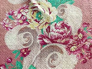 Antique Vtg Waterlily Floral Barkcloth Cotton Fabric ~ Aqua Orange Red Green #1