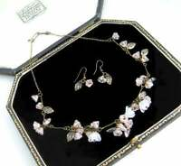 VINTAGE JEWELLERY BEAUTIFUL CZECH PALE ROSE FLOWER GLASS NECKLACE & EARRING SET