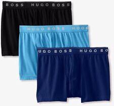$58 Hugo Boss Men BLUE BLACK 3-PACK BOXER BRIEF TRUNKS 50236732 UNDERWEAR Size S
