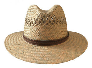 Men's Straw Hat Natural Classic Straight Brim Sun Protection Vacation