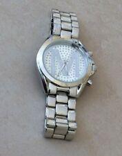 Geneva Women's Watch Silver Fine Designer Style Crystal Round M Silver Dial New!