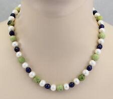 Süßwasser-Perlenkette weiß mit Serpentin & Sodalith 48  cm lang