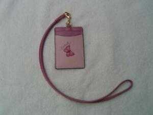NEW AUTHENTIC COACH BLOSSOM AND PINK BUTTERFLY LANYARD ID. HOLDER #2984
