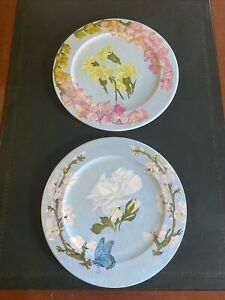 Handpainted Floral Bamboo Chargers Signed Booth