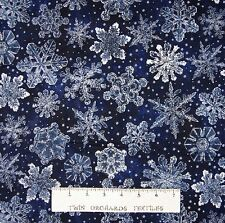 Christmas Fabric - Holiday Accents Dark Blue Snowflake Toss - RJR 20""
