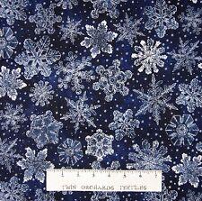 Christmas Fabric - Holiday Accents Dark Blue Snowflake Toss - RJR YARD