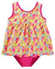 Oshkosh 1-Piece Baby Toddler Girl's Pink Multi-Hearts Swimsuit Upf 50+ 2T Nwt
