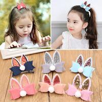 Cute Baby Girls Kids Sequined Rabbit Ear Hair Clip Bow Hairpin Barrette Hairwear