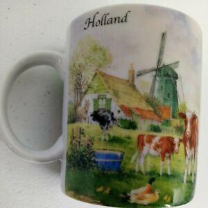 JCV HUNNIK Holland Dutch Farmhouse Windmill Countryside Collector Mug