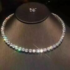 """35 Ct Round Cut D/VVS1 Diamonds 14K White Gold Fn 16"""" Tennis Necklace & Stud Set"""