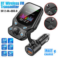 Wireless Car Bluetooth FM Transmitter w/ 3 USB Charger Hands-Free Call 1.8 inch
