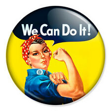 """We Can Do It 25mm 1"""" Pin Badge Rosie Riveter Vintage Feminist Retro WW2"""