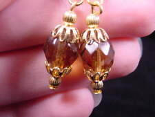 (EE-501-4) amber Austrian crystal faceted filigree dangle earrings gold