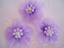 50 Organza Sheer Ribbon Wedding Flower/Pearl Craft/Sewing/Bow F5-Lavender Purple