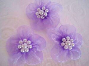 40 Organza Sheer Ribbon Wedding Flower/Pearl Craft/Sewing/Bow F5-Lavender LAST