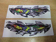 "Torn / Ripped Pintura ""Sello Bomba"" Stickers - 300mm calcomanía Par"