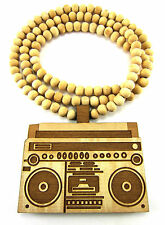 "Wooden Boombox Pendant Piece 36"" Chain Necklace Good Quality Wood Music Style"
