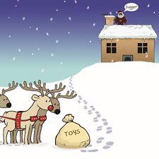 Merry Christmas Card with Forgetful Santa -Funny Christmas Card -Xmas Card -Old