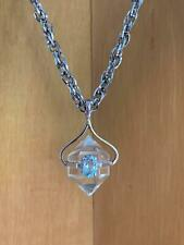 Crown Trifari Pendant Chain Necklace Clear Crystal Light Blue Stone Hangtag Only