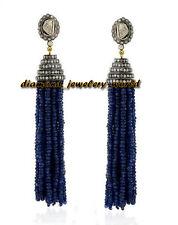 Silver Victorian Tassel Earring Jewelry 6.17ct Rose Antique Cut Diamond Sapphire