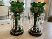 Antique Emerald Green Hand Painted Lusters / Lustres (Pair)