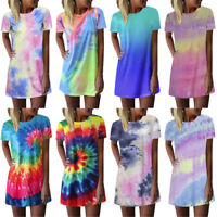 Women Tie-dye Printed Summer Casual T Shirt Dresses Short Sleeve Swing Dress AU