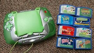 LEAPSTER  LEAPFROG LEARNING GAME SYSTEM 20200 GREEN plus 8 GAME CARTRIDGES
