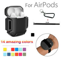 Shockproof Cover Skin Case With Carabiner Anti-lost for Apple AirPods Headset