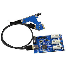 PCI-E 1X Expansion Kit 1 to 3 Ports Switch Multiplier Expander HUB Riser Card