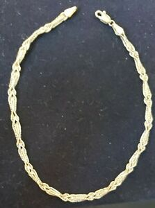 """14k Yellow Gold Double-Row Rope Design Ankle Bracelet,  9""""L, 1.6 Grams"""