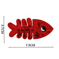Fish Red Sequin Iron On Patch Kids Badge Motif Applique Trimming Patches P519